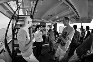 Engaging conversation on the fjord. From left to right: Manfred Mudelsee, Iacopo Longo, Ilya Pavlyukevich, Kevin Bulthuis, Usman Mirza, Pablo Rodriguez Sánchez, Sebastian Bathiany and Ismael Maroto Camarena.